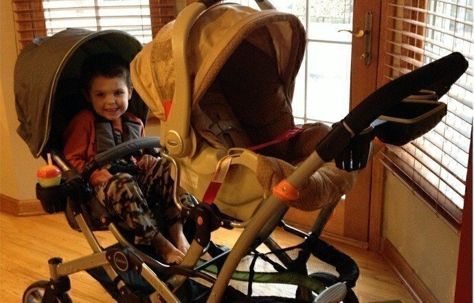 One Empty Seat Can Serve As A Basket tandem stroller